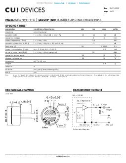date  page  of  MODEL CMAPFW DESCRIPTION ELECTRET CONDENSER MICROPHONE SPECIFICATIONS MECHANICAL DRAWING MEASUREMENT CIRCUIT  CUI Inc MODEL CMAPFW DESCRIPTION ELECTRET CONDENSER MICROPHONE date  page
