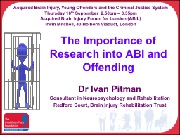 The Importance of Research into ABI and Offending PowerPoint PPT Presentation