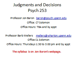 Judgments and Decisions PowerPoint PPT Presentation