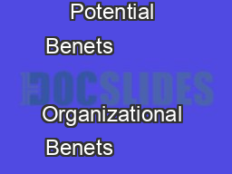 Product Brief Potential Benets                 Organizational Benets