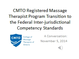 CMTO Registered Massage Therapist Program Transition to the