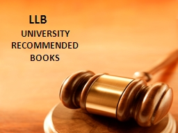 LLB UNIVERSITY RECOMMENDED BOOKS