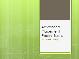 Advanced Placement Poetry Terms