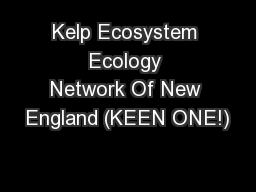 Kelp Ecosystem Ecology Network Of New England (KEEN ONE!)