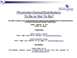 Physician-Owned Distributors: