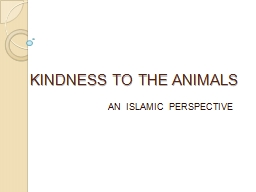 KINDNESS TO THE ANIMALS PowerPoint PPT Presentation