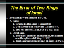 The Error of Two Kings of Israel PowerPoint PPT Presentation