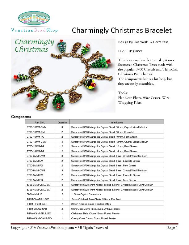 Charmingly Christmas BraceletDesign by Swarovski & TierraCastLEVEL: Be PowerPoint PPT Presentation