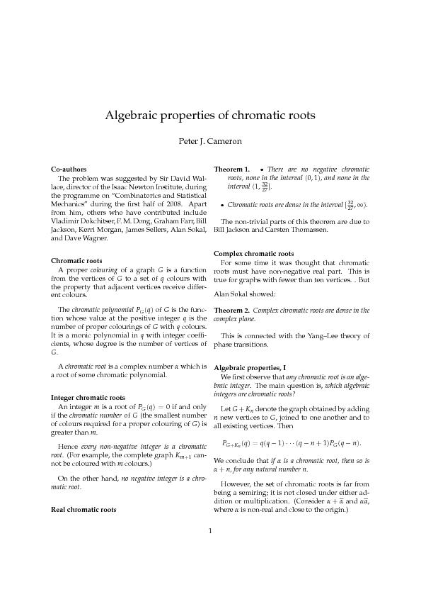 Algebraicproperties,IIWewereledtomaketwoconjectures,asfollows. ...