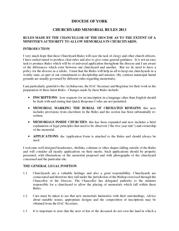 DIOCESE OF YORK CHURCHYARD MEMORIAL RULES 2013 RULES MADE BY THE CHANC