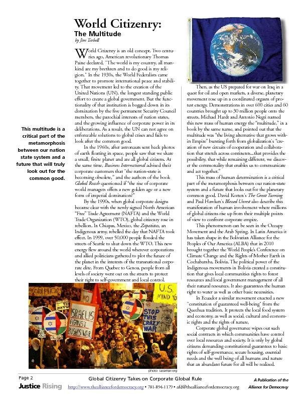 Page 2Global Citizenry Takes on Corporate Global RuleA Publication of