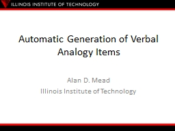 Automatic Generation of Verbal Analogy Items PowerPoint PPT Presentation