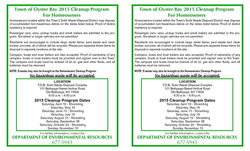 Town of Oyster Bay 2015 Cleanup ProgramFor Homeowners