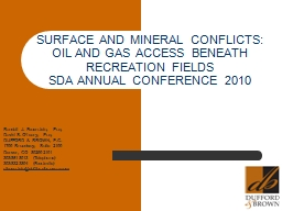 SURFACE AND MINERAL CONFLICTS: