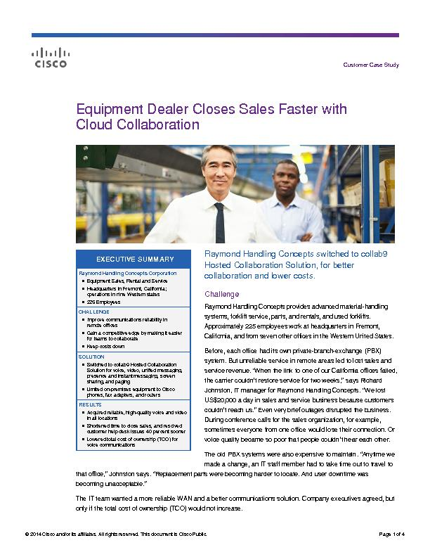 Equipment dealer closes sales faster with cloud collaboration