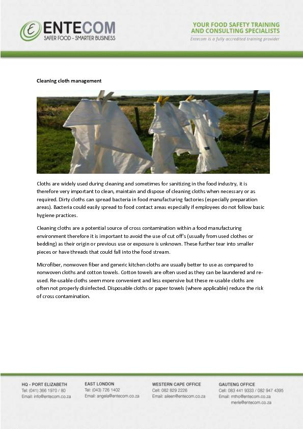Cleaning cloth management