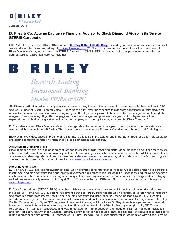 B. Riley & Co. Acts as Exclusive Financial Advisor to Black Diamond Vi PowerPoint PPT Presentation
