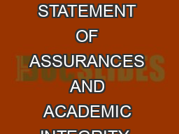 WRITTEN EVENT STATEMENT OF ASSURANCES AND ACADEMIC INTEGRITY  Research and repo PDF document - DocSlides