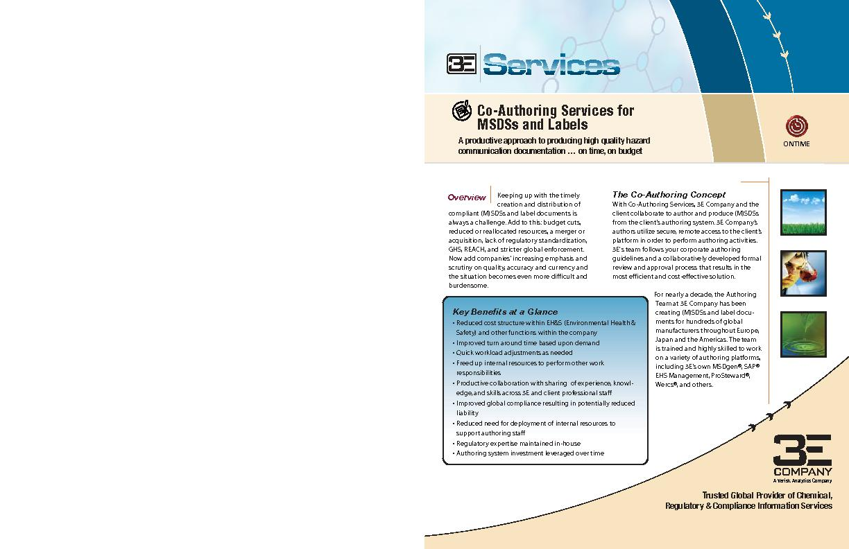 MSDS Distribution3E's MSDS Authoring services can be extended to