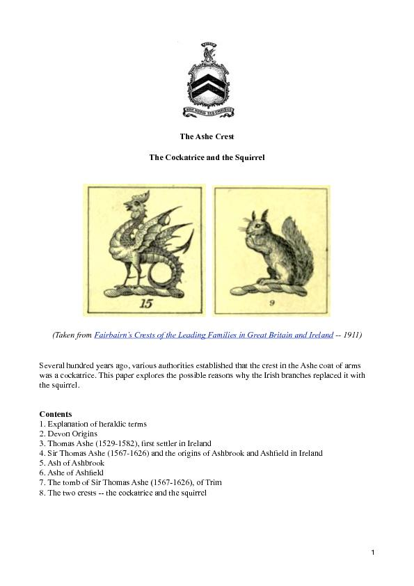 various authorities established that the crest in the Ashe coat of arm