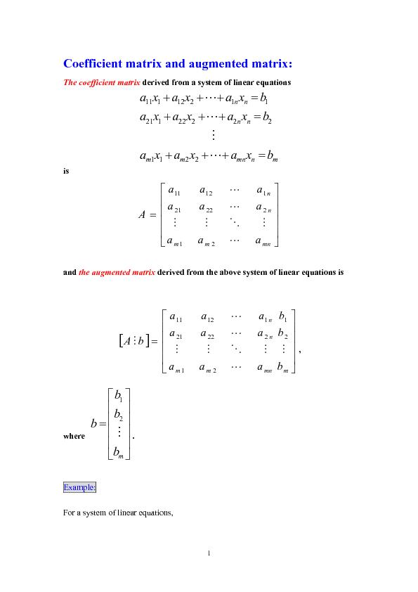 The coefficient matrix derived from a system of linear equations   ...