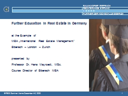 1 Further Education in Real Estate in Germany