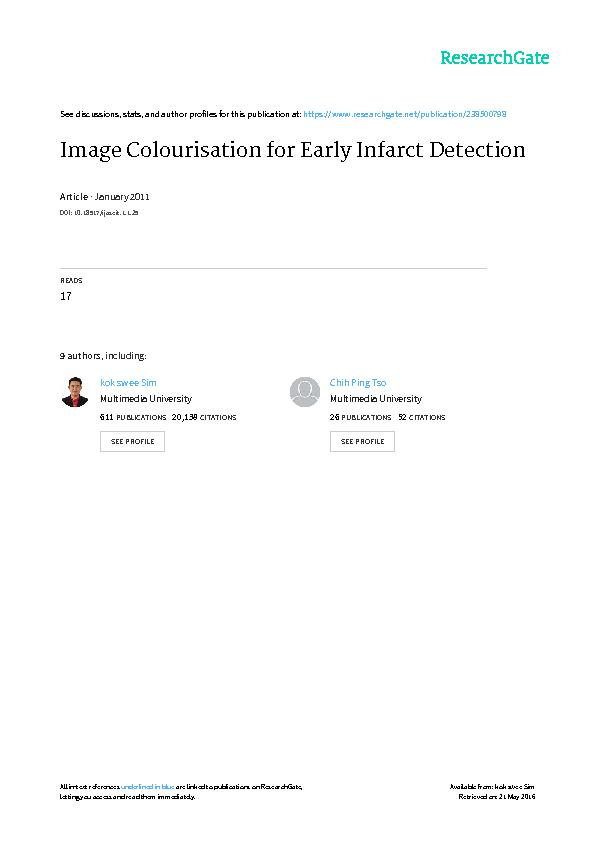Image Colourisation for Early Infarct Detection Ong Ming KuangSim Kok