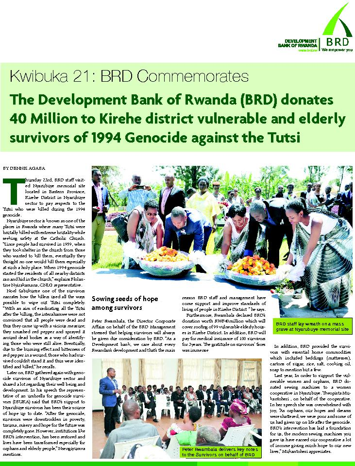 The Development Bank of Rwanda (BRD) donates 40 Million to Kirehe dist