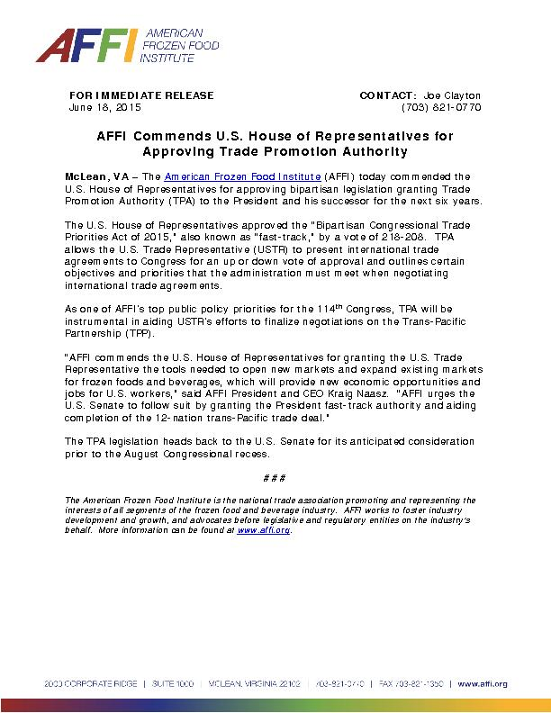 FOR IMMEDIATE RELEASE AFFI commends