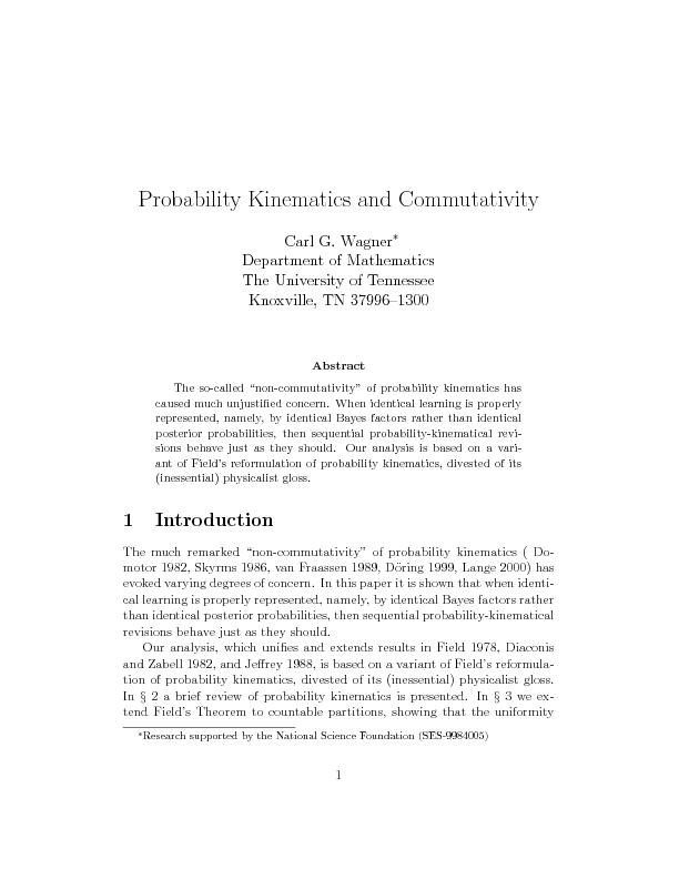 Probability kinematics and commutavity