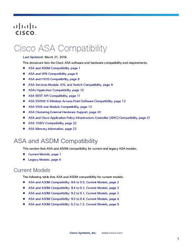 Cisco ASA CompatibilityASA and ASDM Compatibility