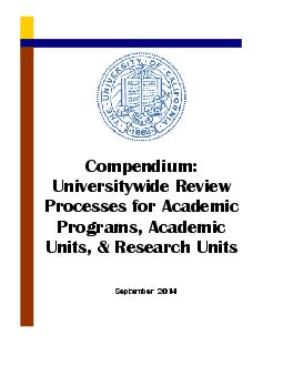 Compendium: Universitywide Review Processes for Academic Programs, Aca