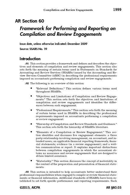 Compilation and Review Engagements AR Section60 Framework for Performing