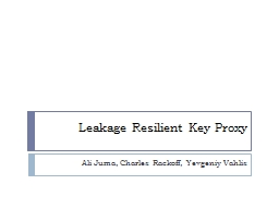 Leakage Resilient Key Proxy PowerPoint PPT Presentation