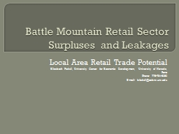 Battle Mountain Retail Sector Surpluses and Leakages