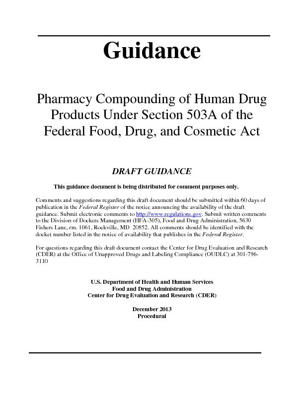 Guidance Pharmacy Compounding of Human Drug Products Under Section 503A of the federal food,drug and cosmetic act