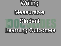Writing Measurable Student Learning Outcomes