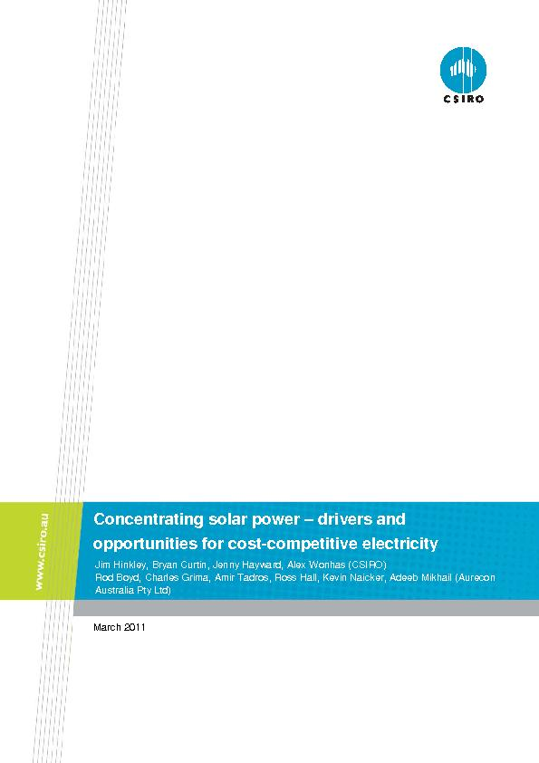 Concentrating solar power-drivers and opportunities for cost-competitive electricity