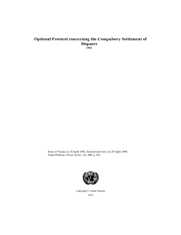 Optional protocol concerning the compulsory settlement of disputes