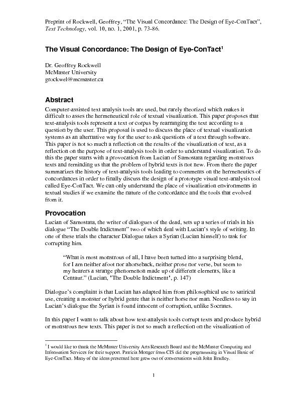 The visual concordance: the design of eye-contact