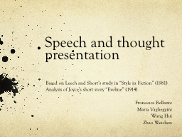 Speech and thought presentation PowerPoint PPT Presentation