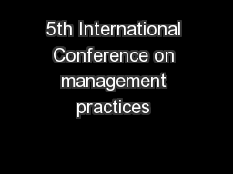 5th International Conference on management practices