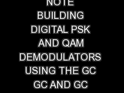 August   SLWA APPLICATION NOTE BUILDING DIGITAL PSK AND QAM DEMODULATORS USING THE GC GC AND GC CHIPS Rev  August