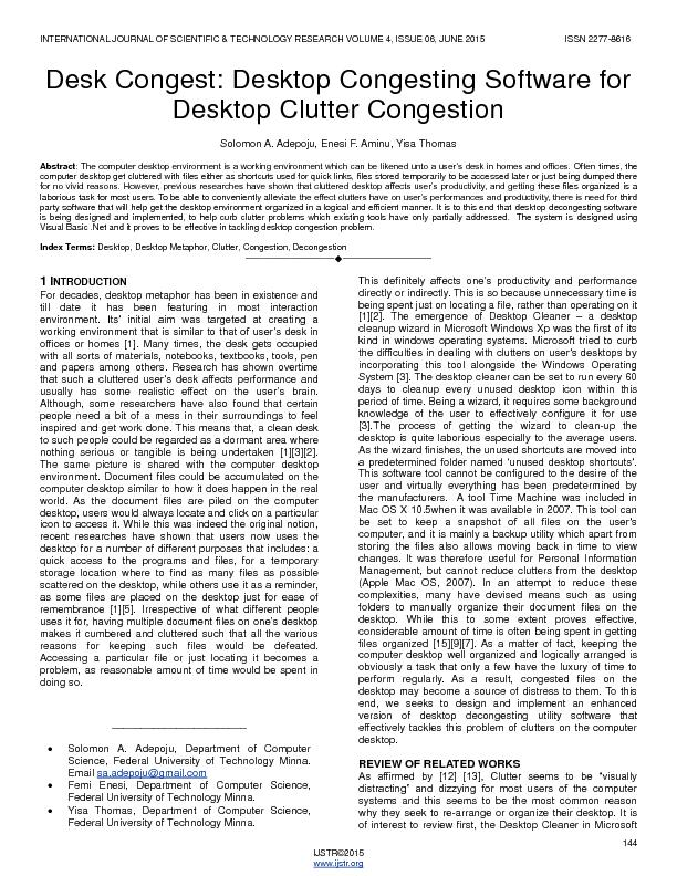 Desktop congesting soft ware for desktop clutter congestion