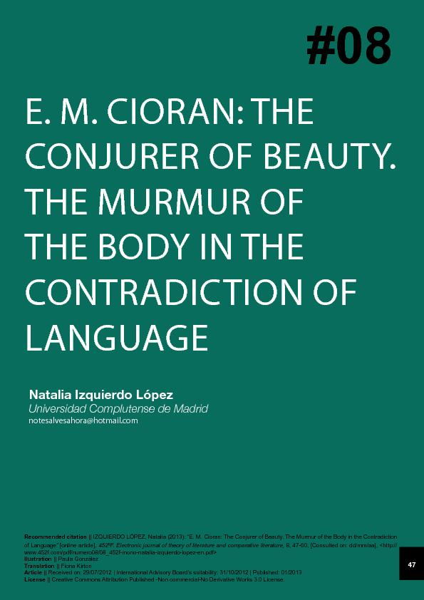The murmur of the body in the contradiction oflanguage