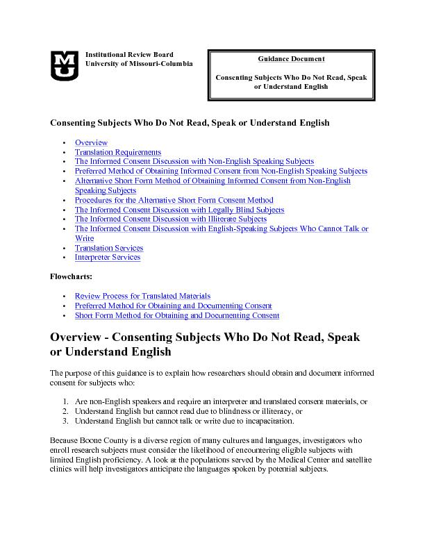 Consenting subjects who do not read speak or understand english