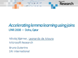 Accelerating lemma learning using joins