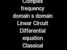 SDomain Analysis  sDomain Circuit Analysis Time domain t domain Complex frequency domain s domain Linear Circuit Differential equation Classical techniques Response waveform Laplace Transform Inverse