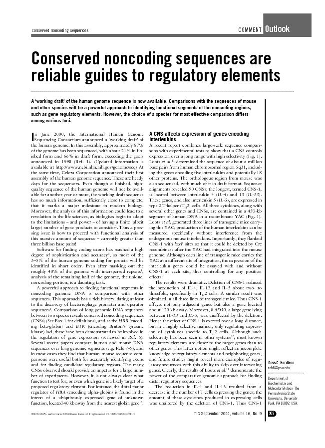 Conserved non coding sequences are  reliable guide to regulatory elements