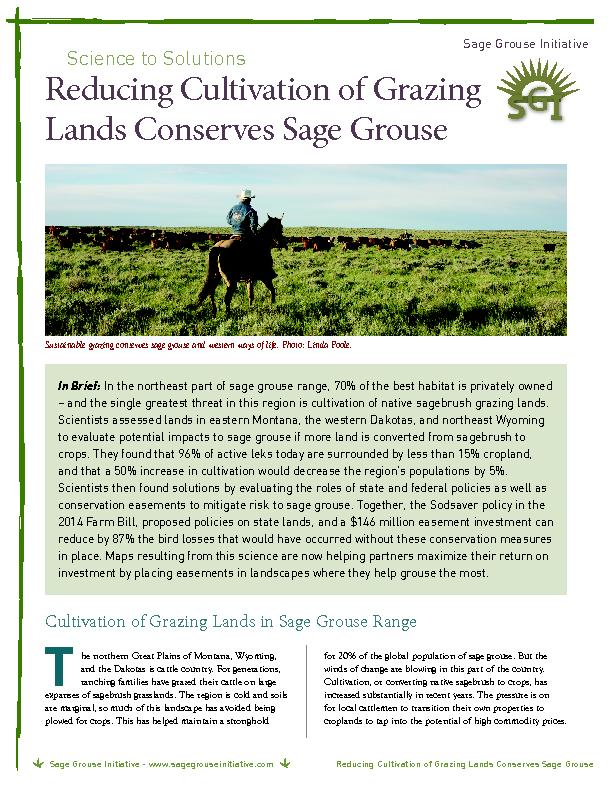 Reducing cultivation of grazing land conserves sage grouse PowerPoint PPT Presentation